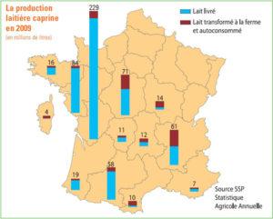 Production régionale du lait de chèvre en France en 2009