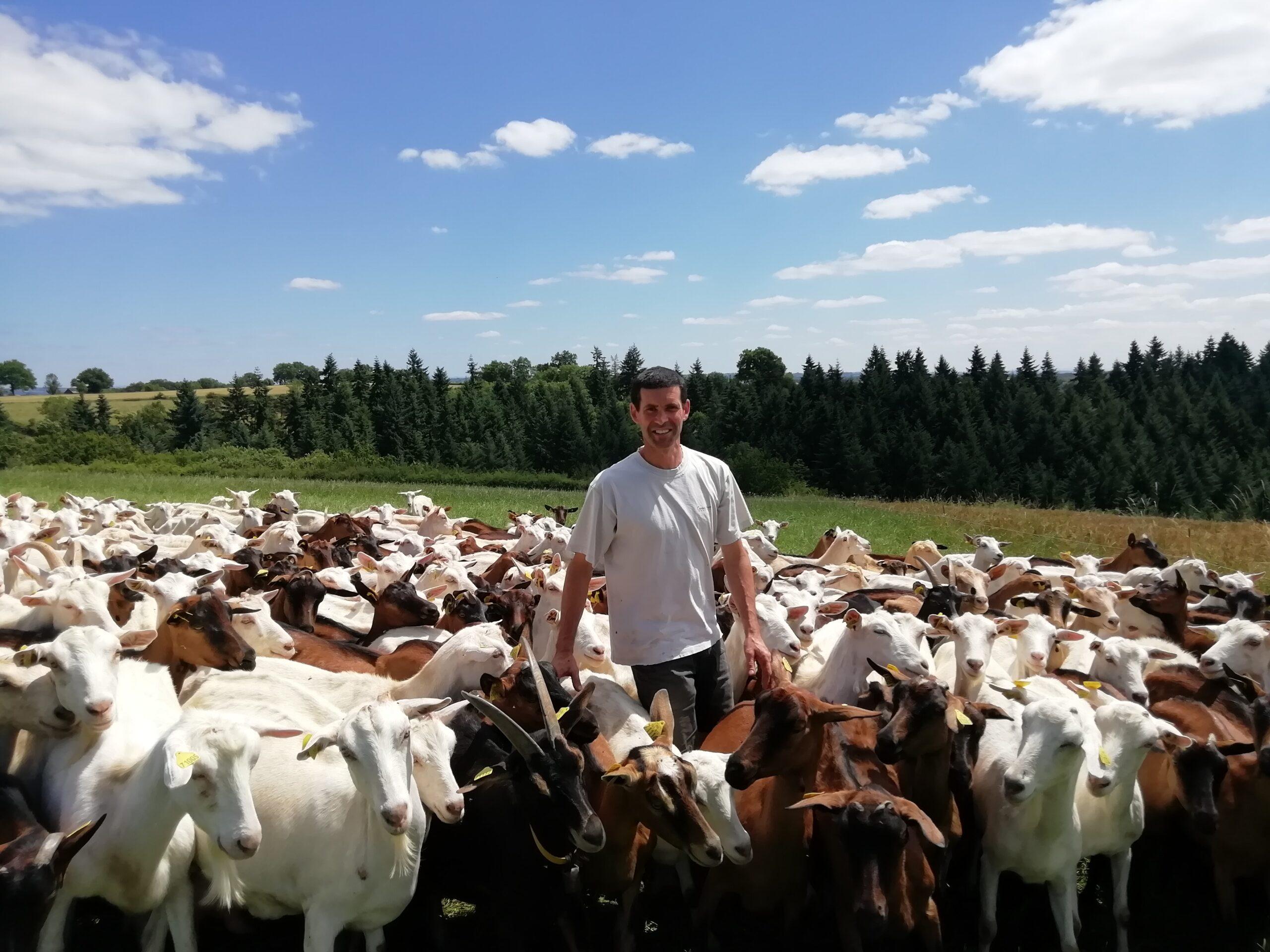 Frédéric BAUDY président de Capgènes auprès de ses chèvres en extérieur